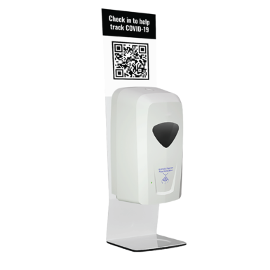 QR Code White Countertop Automatic Hand Sanitiser Station
